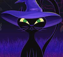 Cute black cat in a witch's hat design by Katharina13