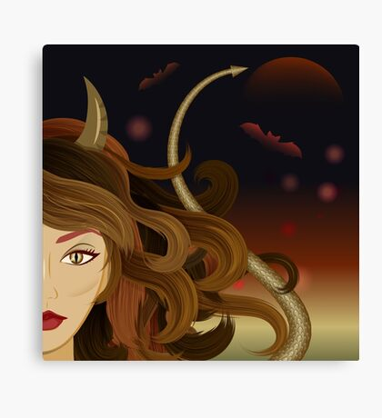 Witch devil girl Canvas Print