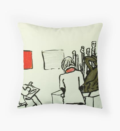 two live figures, European sculpture, Aboriginal spirit beings and two Aboriginal paintings  Throw Pillow