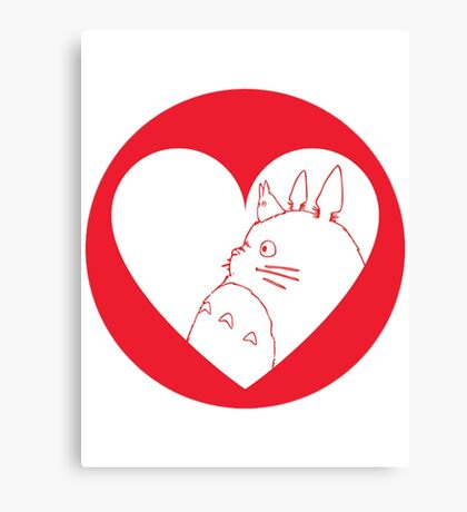 My Neighbour Totoro Heart Canvas Print