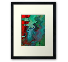 Abstract Green and Red Patterns  Framed Print