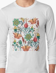 Floral pattern with butterflies Long Sleeve T-Shirt