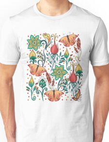 Floral pattern with butterflies Unisex T-Shirt