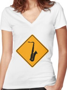 Saxophone Yellow Diamond Warning Sign Women's Fitted V-Neck T-Shirt