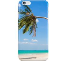 White sand beach and palm tree iPhone Case/Skin