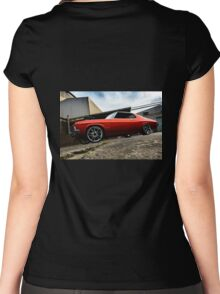 MRBADQ - Aussie Muscle Burnout Car Women's Fitted Scoop T-Shirt