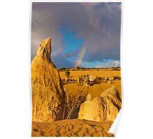 110618 Nambung National Park Pinnacles Rainbow 3 Poster