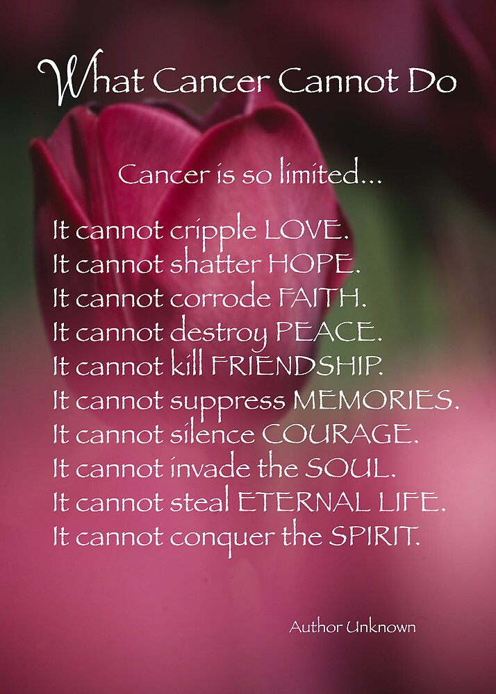 What cancer cannot do quot by sandrarose redbubble