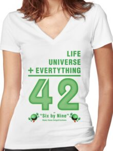 Life, the Universe, and Everything = 42 = 6x9 Women's Fitted V-Neck T-Shirt