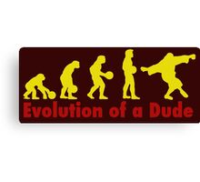Evolution of a dude Yellow Canvas Print