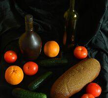 Naturmort mit Apfelsine,Still life by viktor kreker