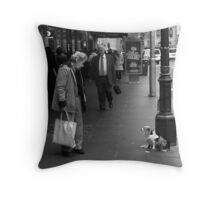 Old Woman and Dogs Throw Pillow