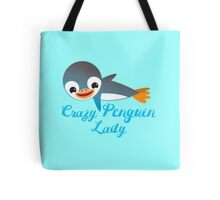 Crazy penguin lady (with cute flying emperor penguins) Tote Bag