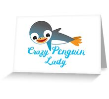 Crazy penguin lady (with cute flying emperor penguins) Greeting Card