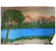 Countryside by the rivers path, watercolor Poster