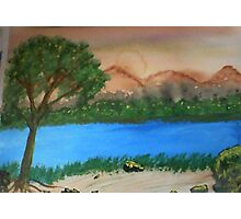 Countryside by the rivers path, watercolor Photographic Print