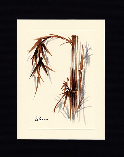 Huntington Gardens Plein Air Bamboo Drawing #1 by Rebecca Rees