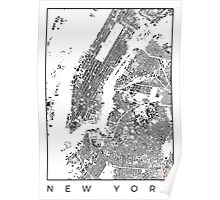 New York Schwarzplan Poster