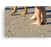 Toes and sea-shells on the sand Canvas Print