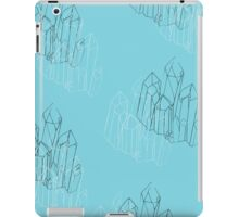 Teal/Turqoise and black and white lined Crystal Pattern  iPad Case/Skin