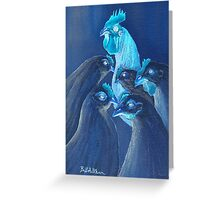 Henpecked In Blue Greeting Card