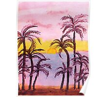 Sunrise on the East Coast, watercolor Poster
