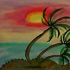 Windy Sunset seen thru the Palm Trees, watercolor by Anna  Lewis