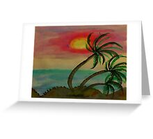 Windy Sunset seen thru the Palm Trees, watercolor Greeting Card