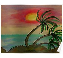 Windy Sunset seen thru the Palm Trees, watercolor Poster