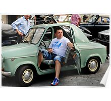 Vespa Piaggio (one of the few Vespa car)-Firenze/italy Poster