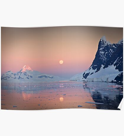 Moonrise in the Lemaire Channel, Antarctic Poster