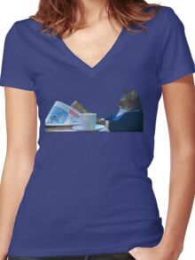 I Should Buy A Boat - Classic Cat Meme v.3 Women's Fitted V-Neck T-Shirt