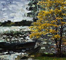 Fisherman boat and yellow tree by Antanas