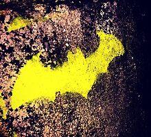 Yellow batman graffiti art by COR38