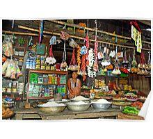 Typical  Burmese village shop. Poster