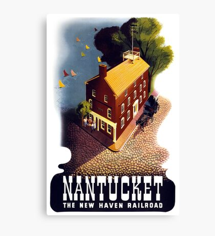 Nantucket Vintage Travel Poster Restored Canvas Print