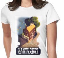 Nantucket Vintage Travel Poster Restored Womens Fitted T-Shirt