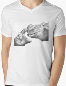 Hippo & Calf Mens V-Neck T-Shirt