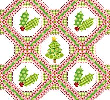 Polka Dot Christmas Lattice Design by PatriciaSheaArt