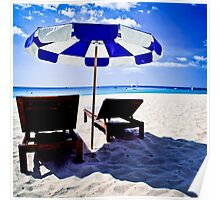 Sunshade with chairs on Thailand beach Poster