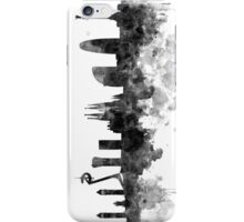 Barcelona skyline in black watercolor iPhone Case/Skin