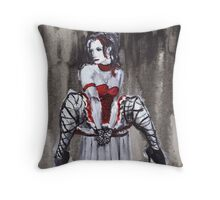 Woman in a Red Dress Throw Pillow