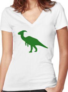 Parasaurolophus Dinosaur Women's Fitted V-Neck T-Shirt