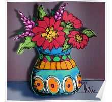 Scribbler Vase of Flowers Poster