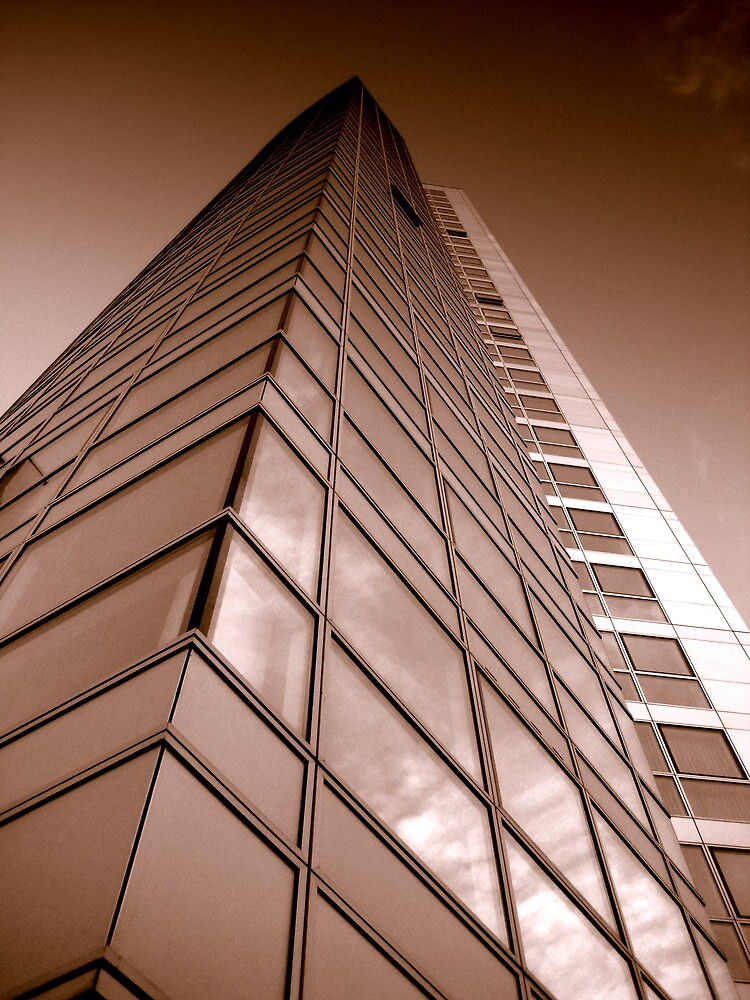 Obel Tower from below, Belfast by Chris Millar