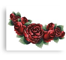 Red Roses with Leaves 2 Canvas Print