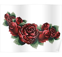 Red Roses with Leaves 2 Poster
