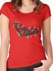 Red Roses with Leaves 2 Women's Fitted Scoop T-Shirt