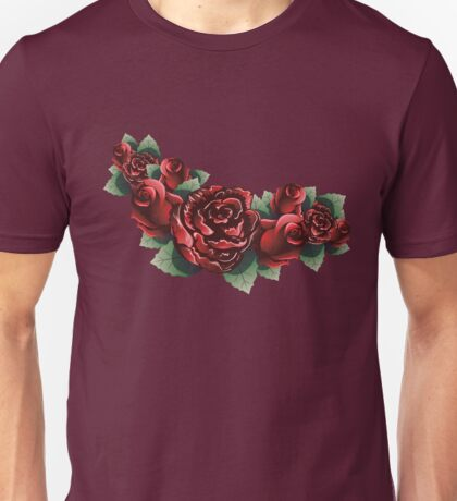 Red Roses with Leaves 2 Unisex T-Shirt