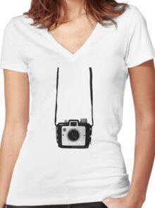 Vintage Camera Kodak Brownie Chiquita 127 Film Women's Fitted V-Neck T-Shirt